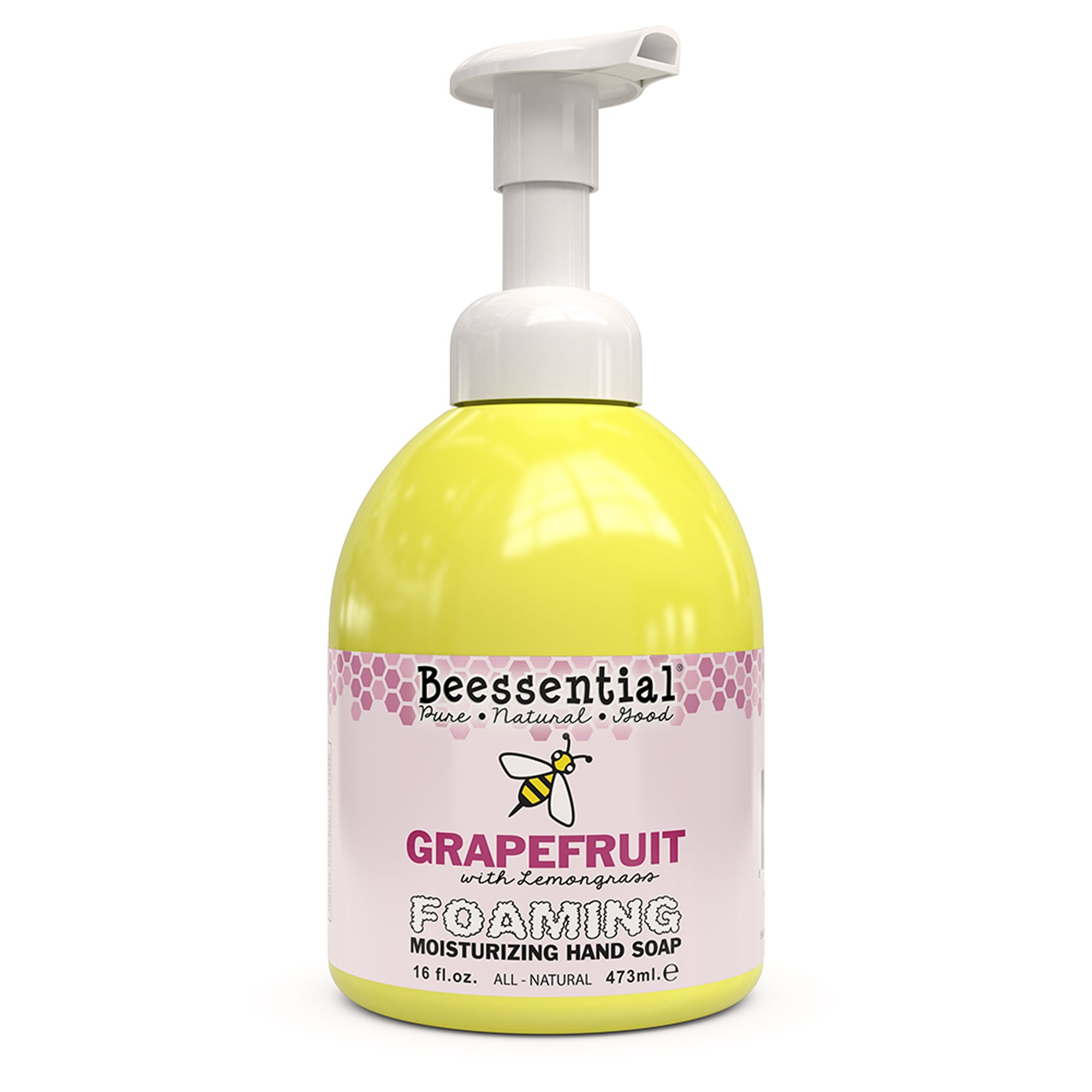 Beessential All Natural Foaming Hand Soap, Grapefruit And Lemongrass Essential Oils, Made with Moisturizing Aloe & Honey - Made in the USA, 16 oz