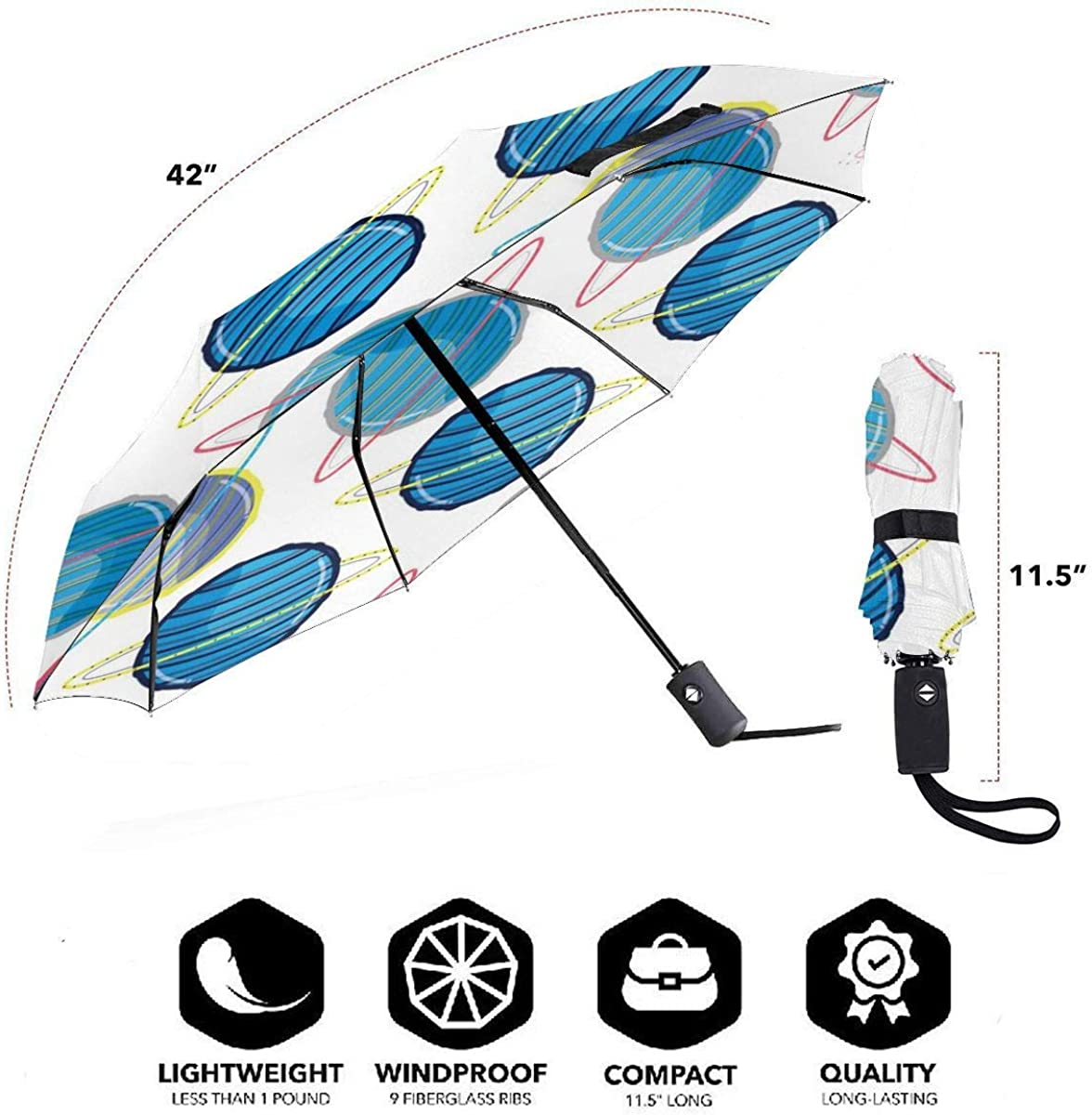 Uranus Planet In The Space Background Compact Travel Umbrella Windproof Reinforced Canopy 8 Ribs Umbrella Auto Open And Close Button Personalized