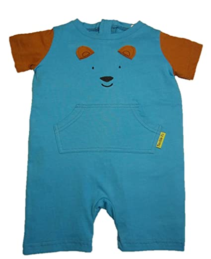 52ba312a0cbc Amazon.com  Strip Free One-Piece Bear Romper with a Back Zipper in Blue Brown   Clothing