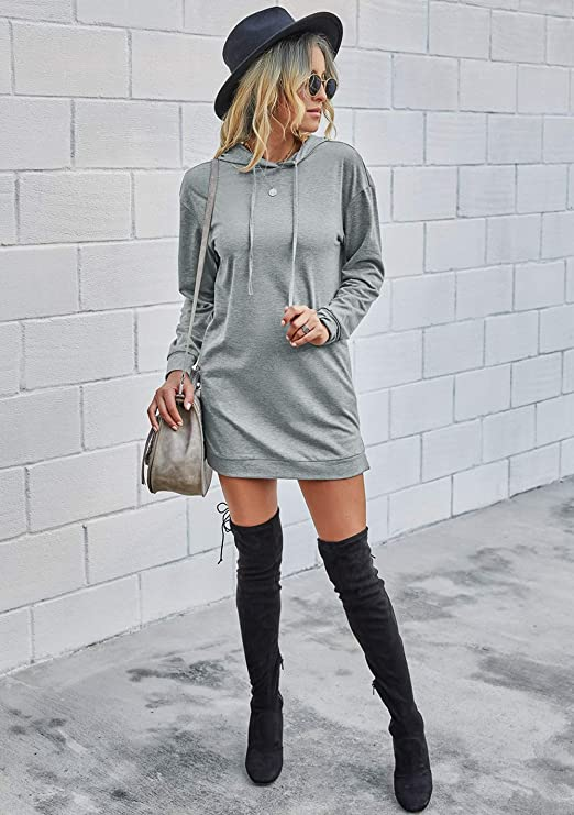 Long Sleeves Sweatshirt Dress Solid Color Hoodie Drawstring Long Pullover with Side Pockets Sweater dresses for Women