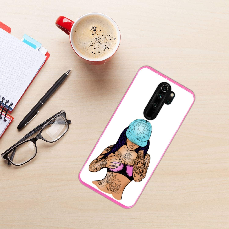 Funda Rosa para [ Xiaomi Redmi Note 8 Pro ] diseño [ Chica Rap con ...