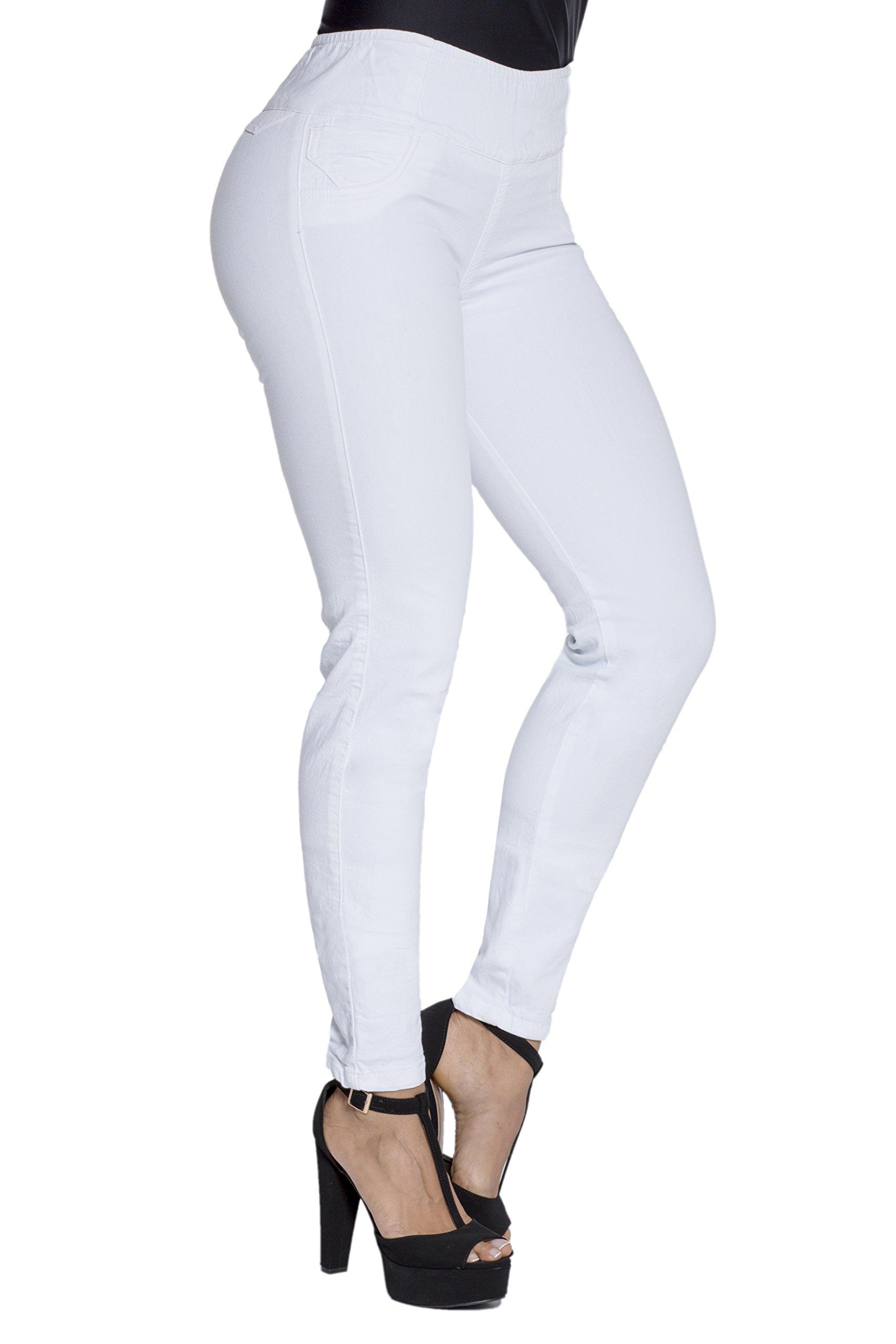 Curvify White Butt Lift Jeggings | Elastic Waist Jeggings | Pull on Jeggings(8001 White 12)