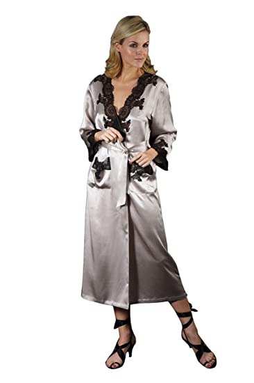 2a72097ce5 Silk Cocoon Women Dressing Gown with Delicate Black Lace Trim-Pure Silk -  A21 Silk
