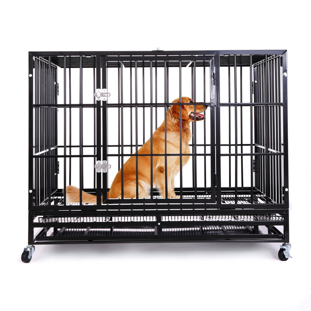 42'' Heavy Duty Dog Crate, Haige Pet Metal Strong Dog Kennel Cage with Wheels and Tray