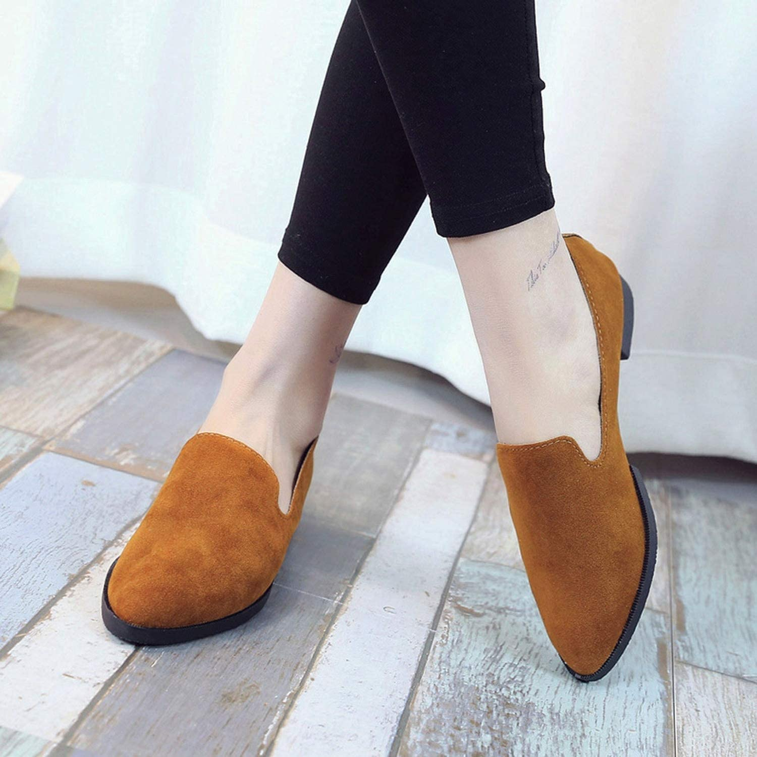 baixa Woman Loafers Spring Autumn Flat Shoes Female Matte Face Pointed Solid Color Flat Shoes Fashion Casual Shallow Shoes No6,BW,6.5