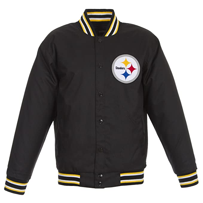official photos a9ac6 045bc JH Design Pittsburgh Steelers NFL Jacket Black Poly-Twill ...