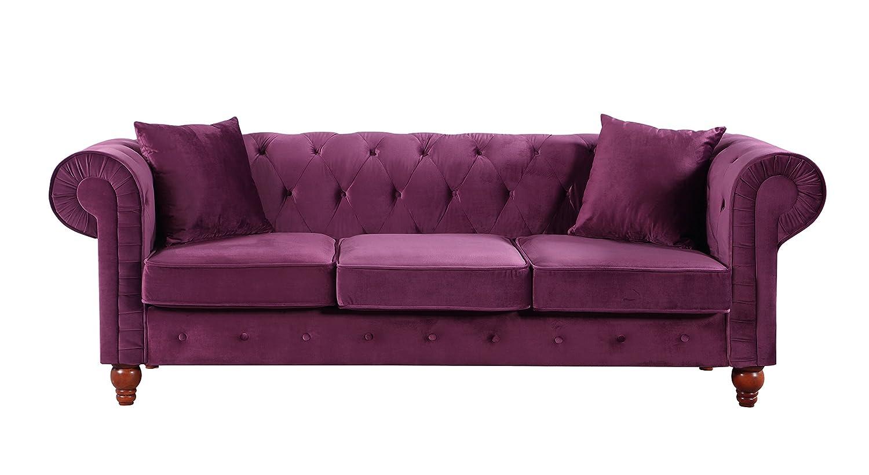 Divano Roma Furniture Classic Velvet Scroll Arm Tufted ...