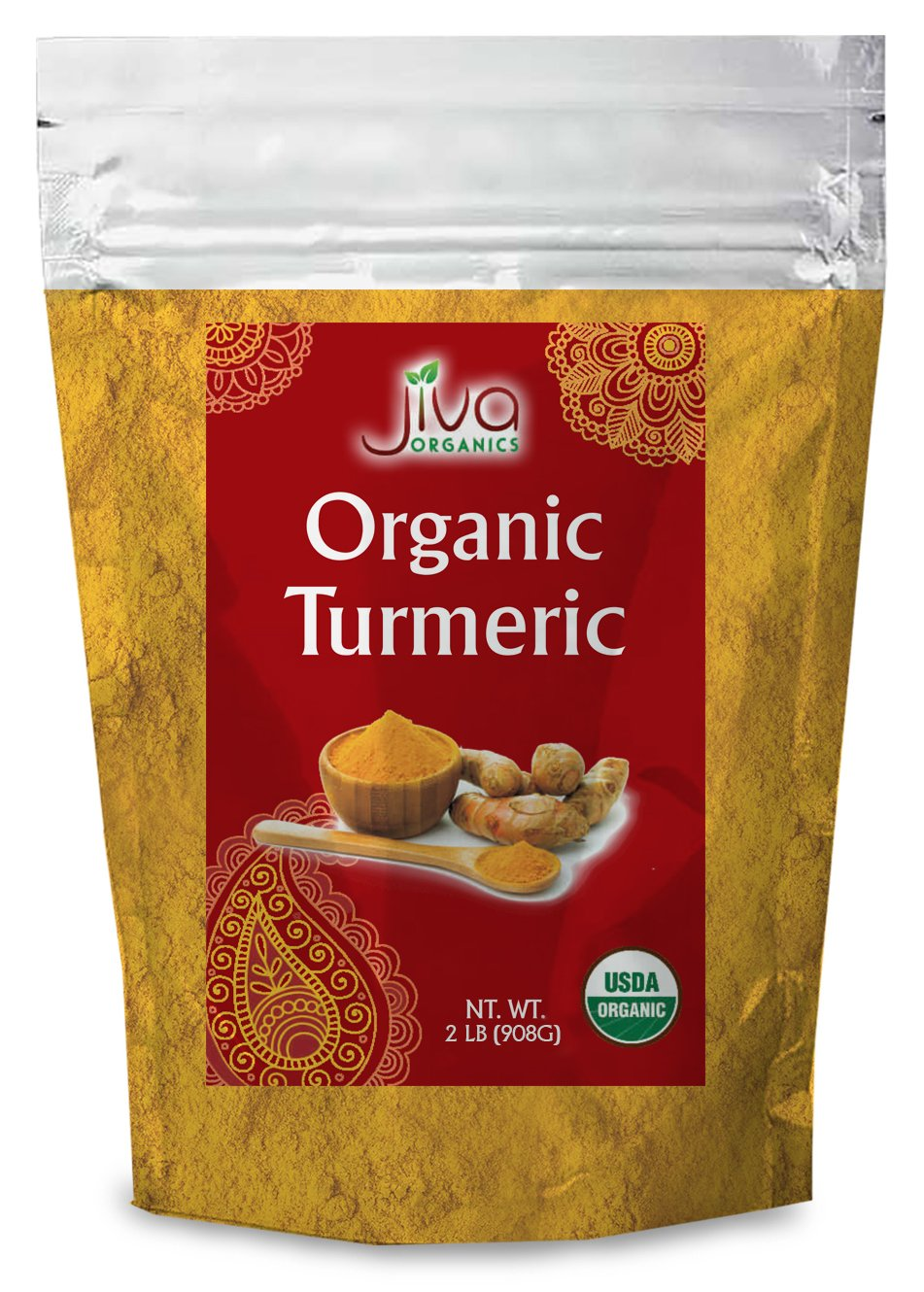 Jiva Organics Turmeric Powder 2 Pound Bag - Value Size!