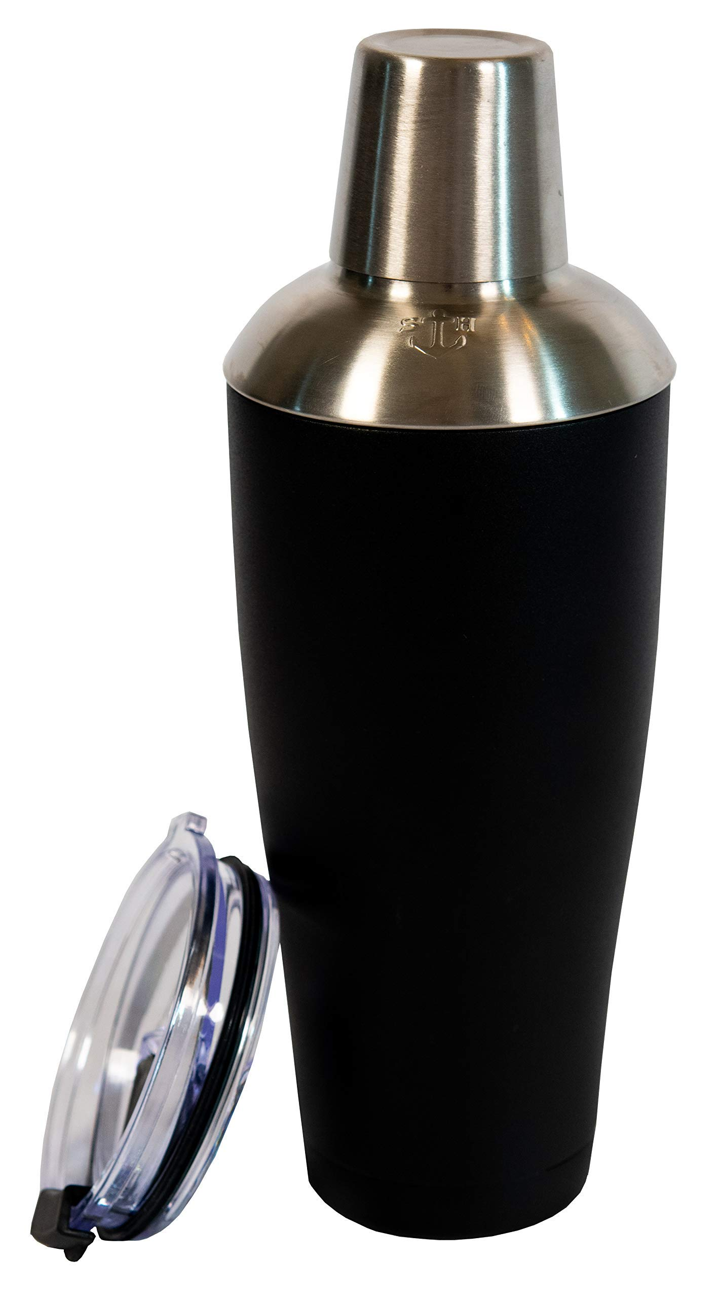 Stock Harbor Stainless Steel 30 Ounce (887 Milliliter) Double Wall Cocktail Shaker Vacuum Insulated Tumbler and Shaker Top; Powder Coated Black by S H STOCK HARBOR