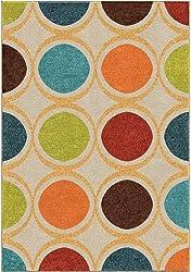 """Orian Rugs Veranda Indoor/Outdoor Loop Cream Area Rug, 7'8"""" x 10'10"""", Multicolor"""