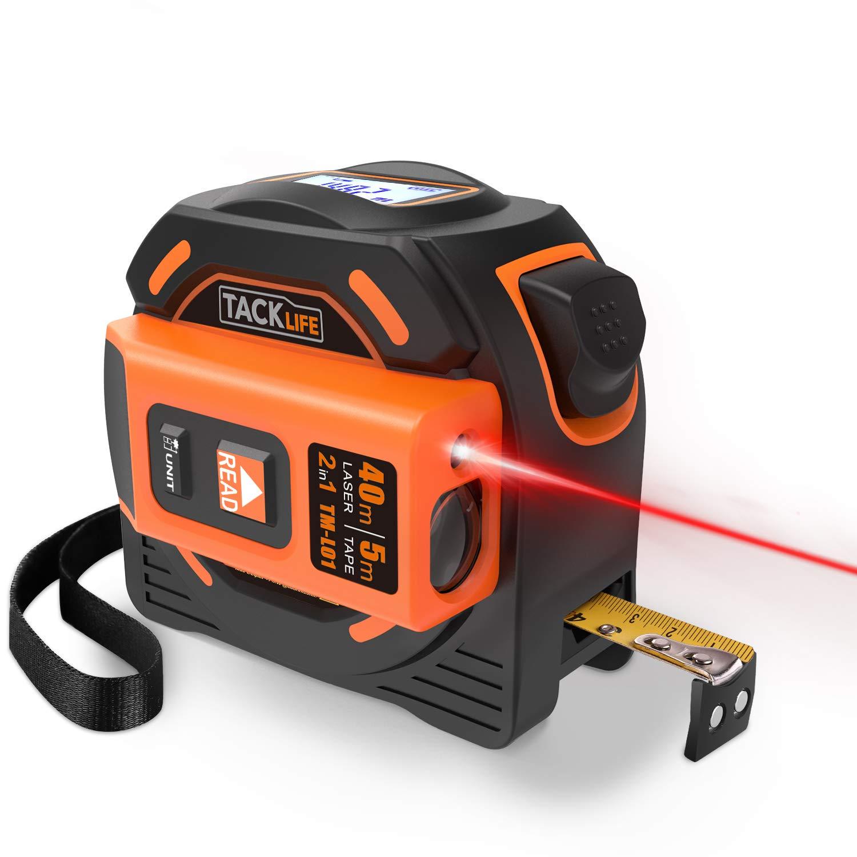 Tacklife Télémètre Laser Numérique 80m Avancé avec LCD rétro-éclairage Metre Laser calcule Distance Surface Volume pour Bricolage avec 2 piles et Sac de Protection Jetery