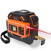 Laser Mètre à Ruban 2 en 1, Tacklife TM-L01, Laser 40m, Ruban à Mesurer 5m, Autobloquant, Double Photosensible, Mesure Continue, Calibrage Réglable, Écran Rétro-éclairage