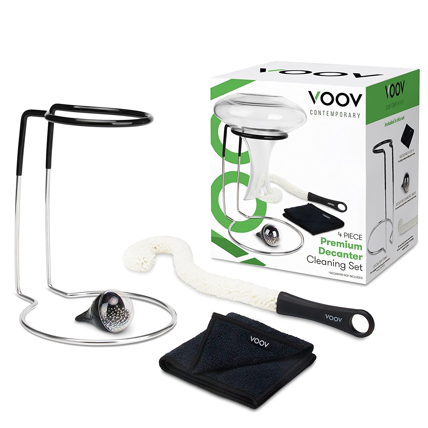 NEW! VOOV Contemporary 4 Piece Premium Decanter Cleaning Set with Drying Stand, Cleaning Beads, Cleaning Brush and Microfiber Drying Cloth (Decanter Not Included) ZFDC-001
