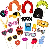LUOEM 21pcs 90s Party Photo Booth Props Funny Birthday Party Photo Props with Wooden Sticks Creative Party Supplies, Perfect for 1990s Theme Birthday Party Decoration Accessories