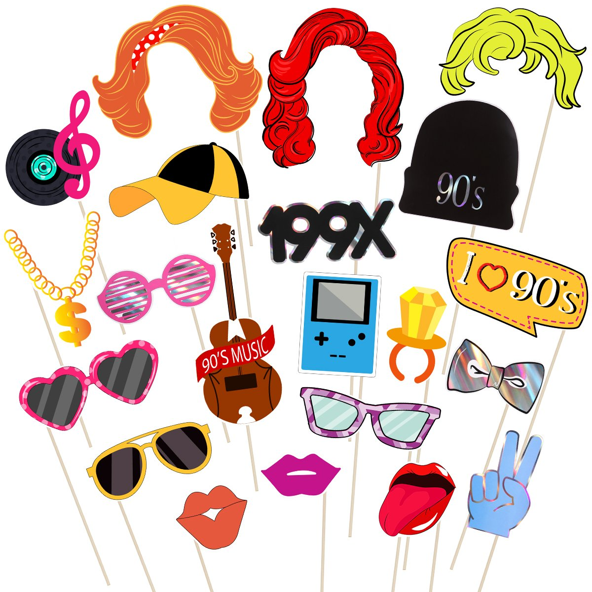 Amosfun 1990's Party Photo Booth Props Kit 90's Bithday Photo Props on a Stick Creative Party Decoration Supplies,Pack of 21