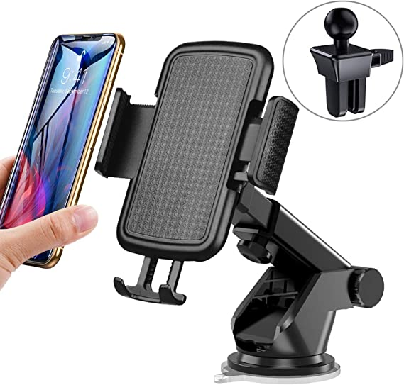 Car Cell Phone Mount,Universal Air Vent Car Phone Holder Compatible with iPhone Xs Max//XS//XR//X//8//8Plus//7//7Plus//6s//6Plus//5S,Samsung,Galaxy S6 S7 S8 S9 Google,LG,Nexus,Sony,Huawei,Nokia and More,Black