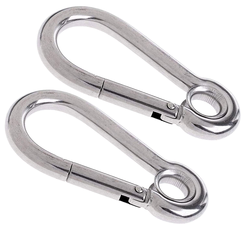 Purses DIY 1 Carabiner ~ HEAVY DUTY Snap Hook Clip with EYE ~ from 40mm to 100mm Long ~ Keyrings Hanging Baskets Hammocks Camping Handbags Sporting Activities