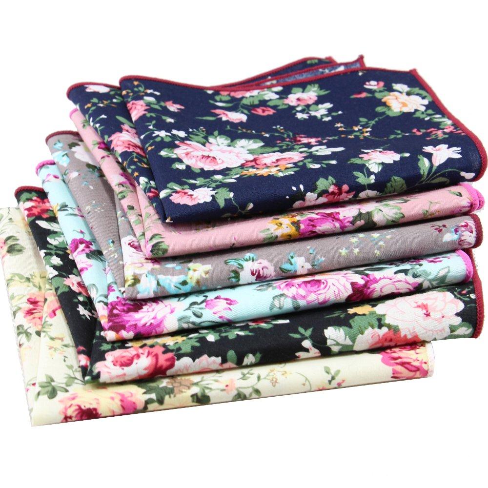 6 Pcs Men's Handkerchiefs Cotton Floral Pocket Squares for Men Ladies Hankies by MarJunSep (Image #2)