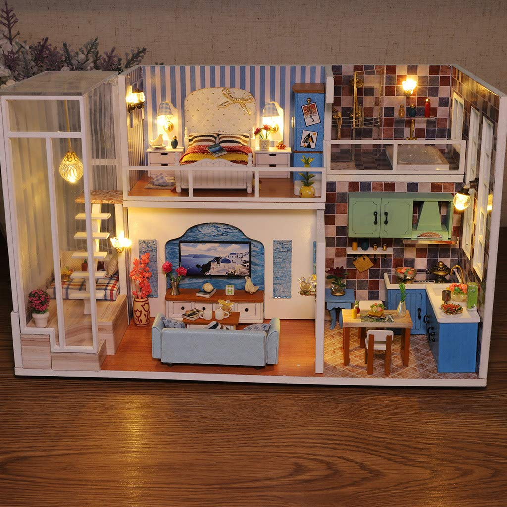 Gotd Clearance Dollhouse Miniature with Furniture,3D Wooden DIY Miniature House Furniture LED House Puzzle Decorate Creative Gifts for Kids (A) by Gotd Clearance