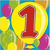 Partyservietten Zahl 1 Ballondesign 20 St. Geburtstag Deko Party Servietten