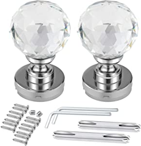 Shirylzee Crystal Door Knobs 60mm Diamond Pull Handle Clear Glass Door Knob Solid Round Crystal Cut Faceted with Screw and Accessories for Bedroom Hall and Closet (2Pack)