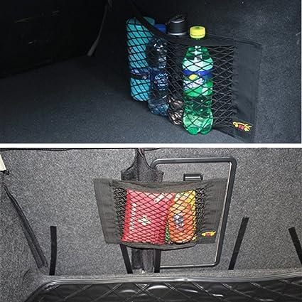 Tuqiang Zgy Auto Rücksitz Organizer Netz Tasche Mit Klebeband Für Autositz Aufbewahrung Ablage Pkw Kfz 40 X 25cm Auto