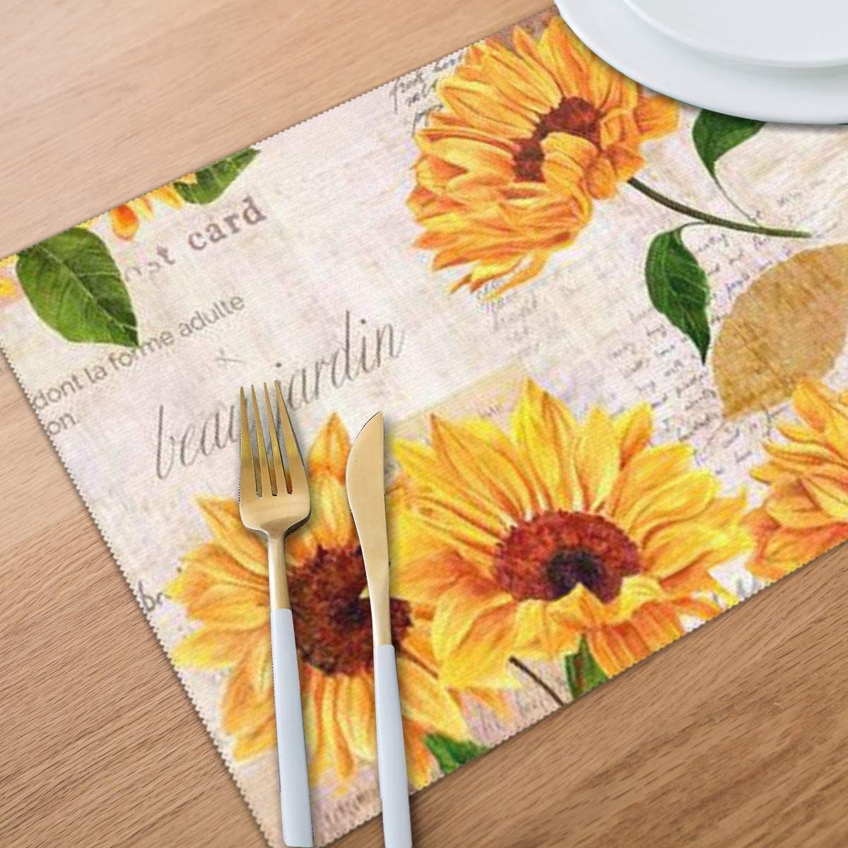 Bghnifs Vibrant Yellow Sunflowers Placemats Table Mats Set of 6 Washable Non Slip Heat Insulation Place Mats Dining Room Kitchen Decor 12 X 18