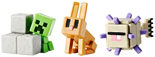 Minecraft Mini Figure 3-Pack, Elder Guardian, Sneaky Creeper & Rabbit