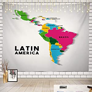 Batmerry World Map Tapestry, Map of The Americas Picnic Mat Beach Towel Wall Art Decoration for Bedroom Living Room Dorm, 51.2 x 59.1 Inches, White