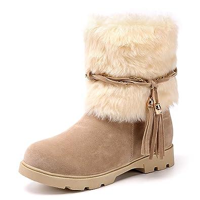 ee309020520 Susanny Women's Winter Fashion Warm Short Booties Casual Outdoor Suede Flat  Heel Waterproof Faux Fur Beige