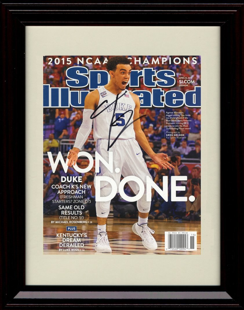 Framed TyusジョーンズDukeブルーDevils Sports Illustrated Autographレプリカ印刷 – 2015 Champs 。
