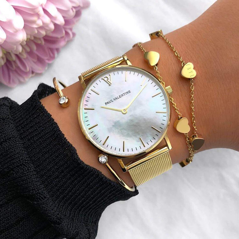 Paul Valentine - Reloj de Pulsera para Mujer (38 mm), Color Dorado: Amazon.es: Relojes