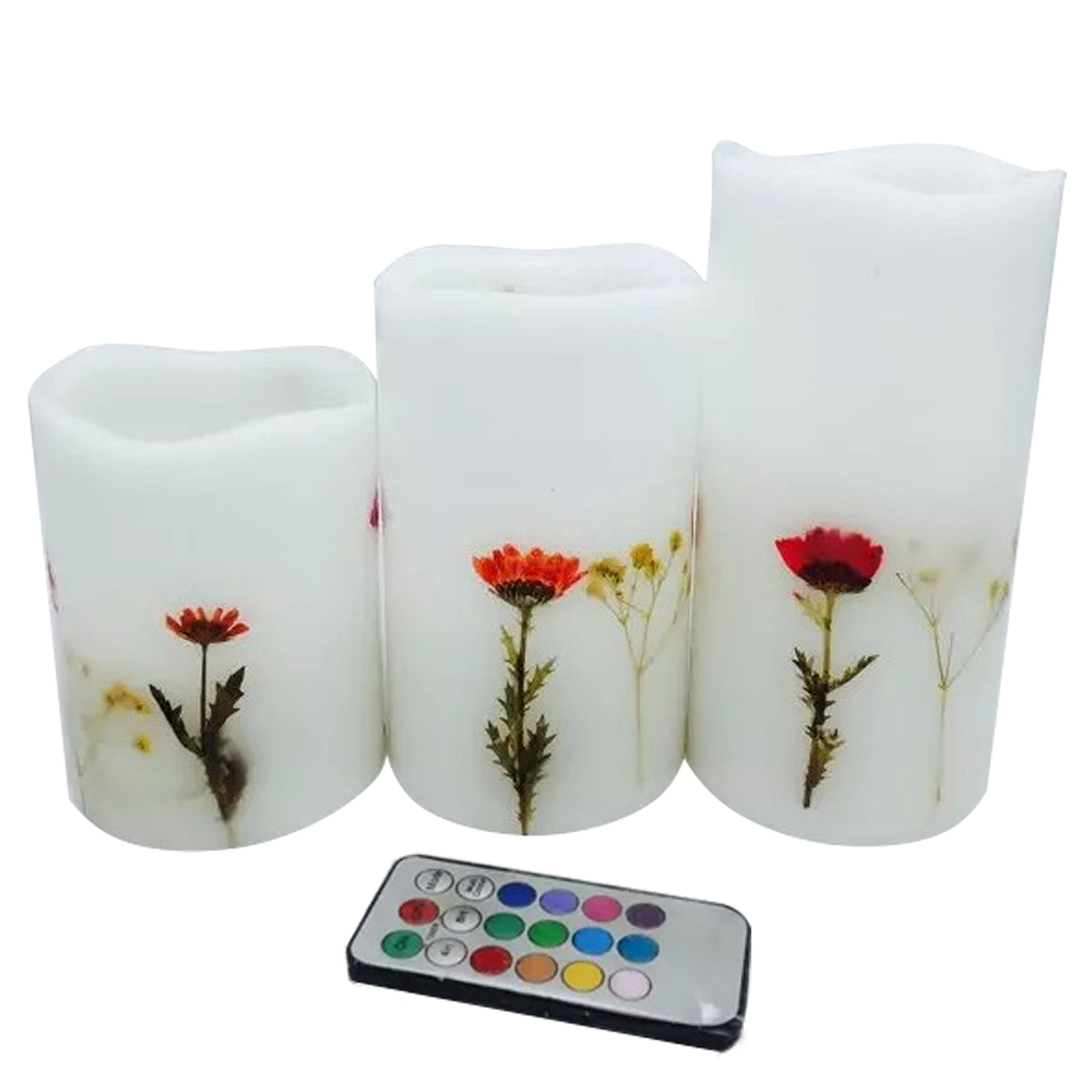 Adoria White Flameless Led candle-Real Wax Battery Candle-Remote Timer Pillar Candle-Natrual Dry Flower InlayedTall 4'',5'',6'', Set of 3