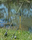 RITE-HITE Dual Fishing Rod Holder - Holds Two Fishing Rods and Reels at the Optimum Angle. Great for Bank Fishing on Lakes and Streams
