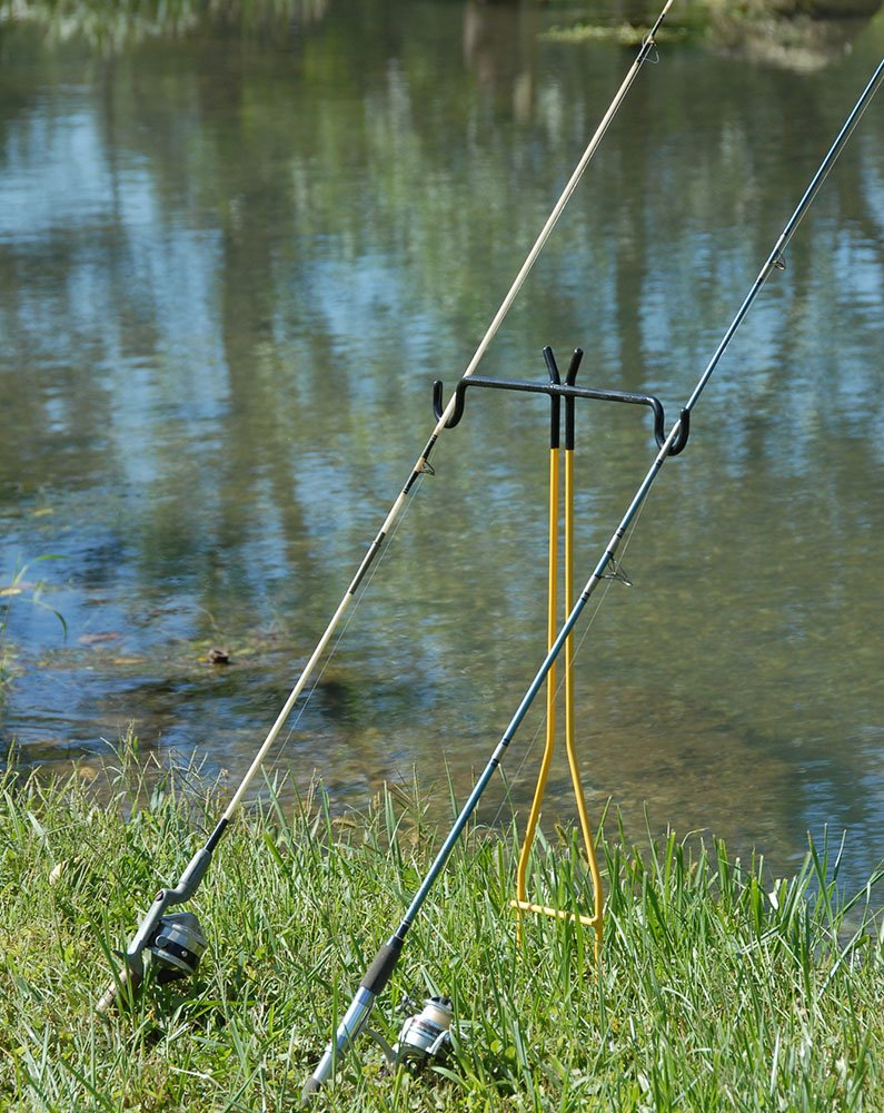 Rite Hite Dual Fishing Rod Holder - Holds Two Fishing Rods and Reels at the Optimum Angle. Great for Bank Fishing on Lakes and Streams