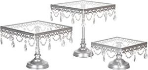 Amalfi Decor Square Cake Stand Set of 3 Pack, Dessert Cupcake Pastry Candy Display Plate for Wedding Event Birthday Party, Glass Top Metal Pedestal Holder with Crystals, Silver