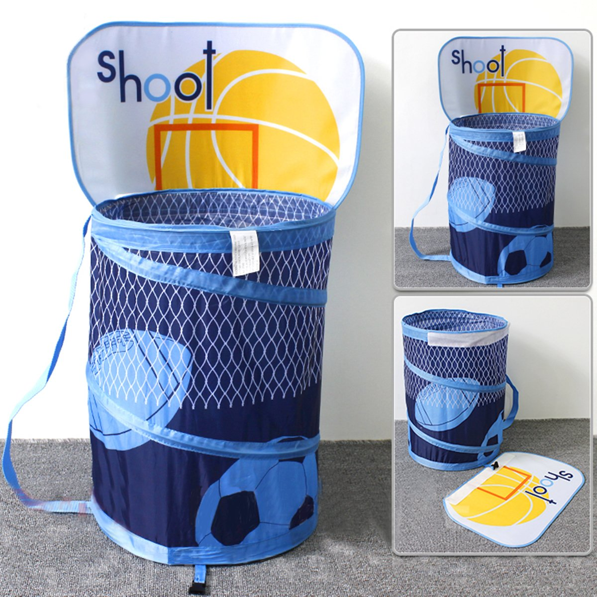 Ao blare 14X19Inch Basketball Hoop Toy Bucket Laundry Basket Clothes Hamper Toys Basket Storage Bucket Folding Cylinder Laundry Basket Toy Box Organizer Storage Bag