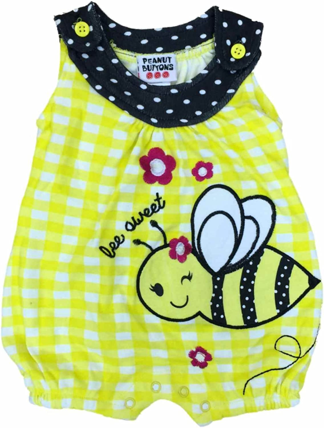 Peanut Buttons Infant Girls Yellow Stripe Bee Sweet Bodysuit Flower Baby Creeper Outfit 3-6m
