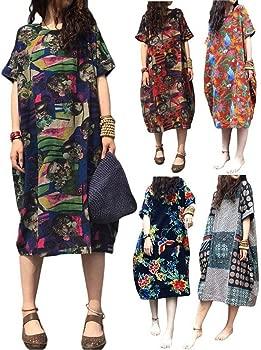 Vestido Largo de Manga Larga Vestido Flojo Vestido Redondo ...