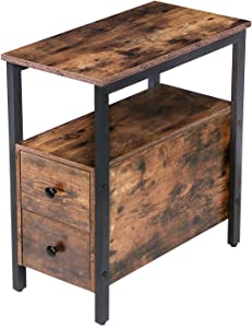 HOOBRO End Table, Chairside Table with 2 Drawer and Open Storage Shelf, Narrow Nightstand for Small Spaces, Stable and Sturdy Construction, Wood Look Accent Furniture, Industrial Style BF54BZ01