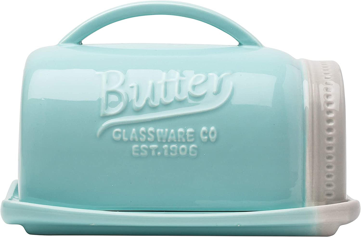 Ceramic Mason Jar Butter Dish w/Lid and Handle – Decorative, Farmhouse Butter Holder in Adorable Aqua Blue Color – Convenient, Retro Butter Storage Container Made of Chip-Free Ceramic