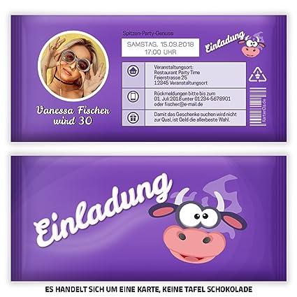 Tarjetas De Invitación Para Cumpleaños Chocolate Lila