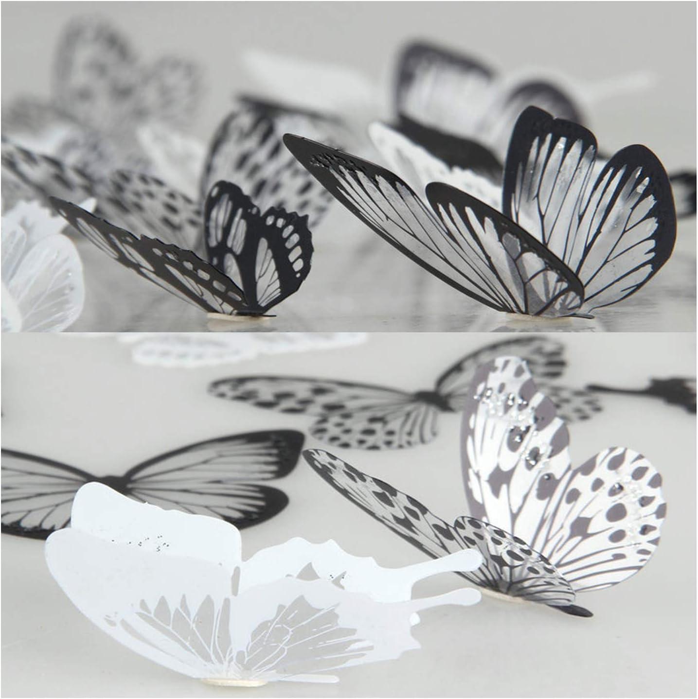 36 piezas 3D Etiqueta de la pared mariposa Muebles de bricolaje decoracion Etiqueta engomada de la mariposa del diseño del arte de la moda Decoración de la habitación del bebé/Negro