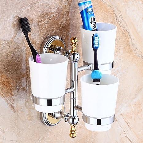 Botella de cepillo de dientes de cobre lleno estilo europeo actividades marco tres vasos de cerámica