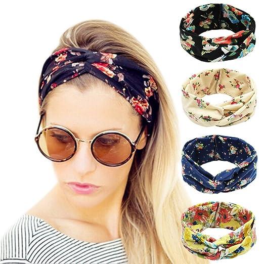 5c3b70463c1 Ordenado 4 Pack Women s Headbands Elastic Turban Head Wrap Floal Style Hair  Band