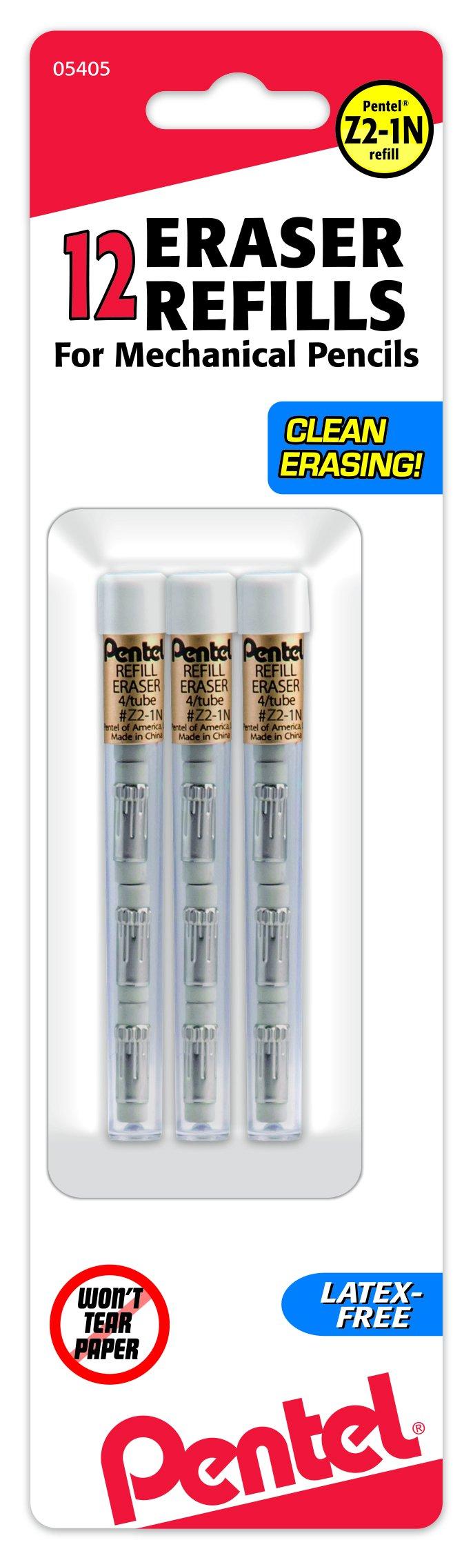 Pentel Refill Eraser for Mechanical Pencils, 3 Tubes per pack, 4 erasers per tube by Pentel (Image #1)
