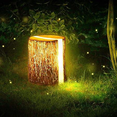 SHELLTB Decoración para jardín Estatuilla de luz - Luz de Pila de Madera | Figura de decoración al Aire Libre LED | Iluminar Acentos de estatuas Decorativas para Patio, Patio,B: Amazon.es: Hogar