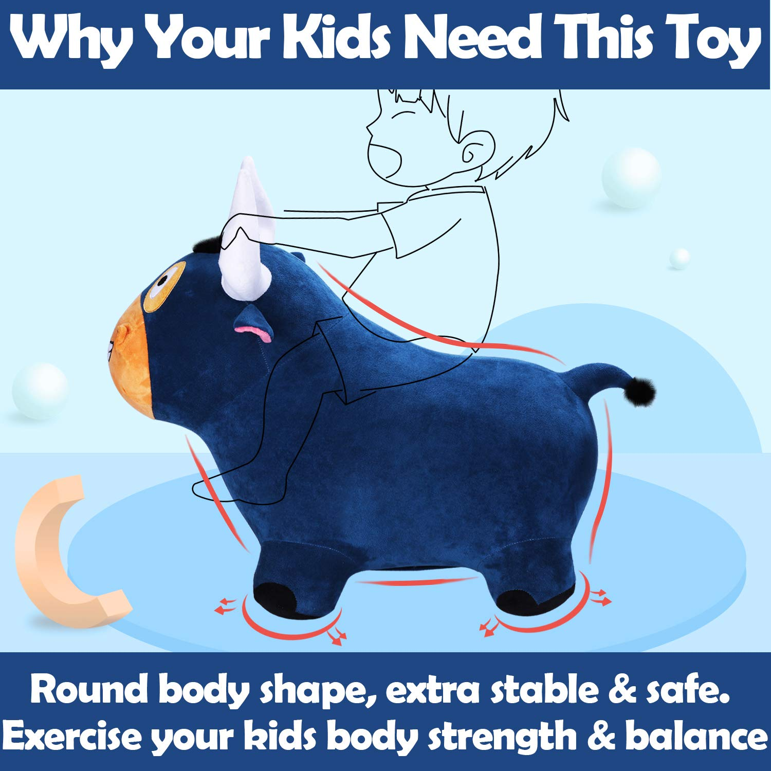 Girls iLearn Bouncy Bull Plush Riding Hopper Horse Kids iPlay Boys 5 Year Olds Outdoor Ride on Toys 4 Toddler Bouncer Jumping Gifts with Pump for 3 Inflatable Hopping Farm Animals