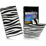 LG E610 Optimus L5 Handytasche Premium Slim FlipCase Schutzhülle Tasche Hülle Cover FlipStyle Klapptasche Vertikaltasche in Zebra Design