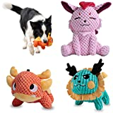 UNIWILAND Latest Squeaky Plush Dog Toys Pack for Puppy, 3 Pack Durable Stuffed Animal Plush Chew Toys with Squeakers, Cute So